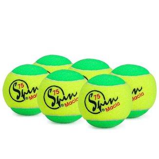 Bola de Tênis Spin 75 Verde Pack com 06 Unidades - Estagio 1