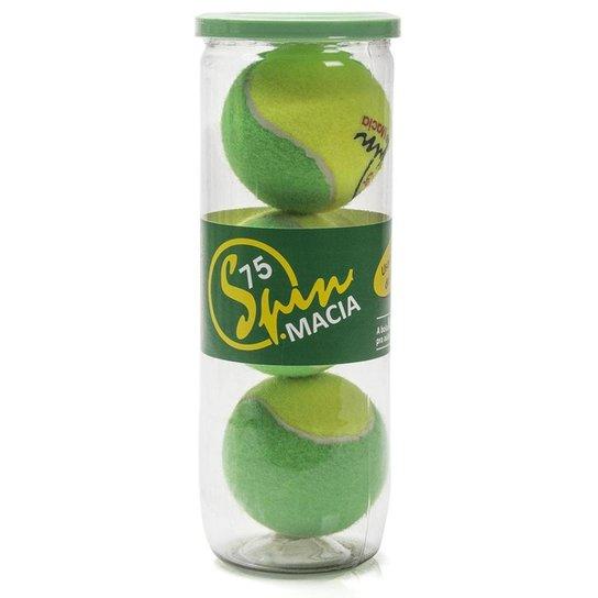 Bola de Tênis Spin Macia 75 Estágio 1 Tubo com 03 unidades Amarela e Verde -