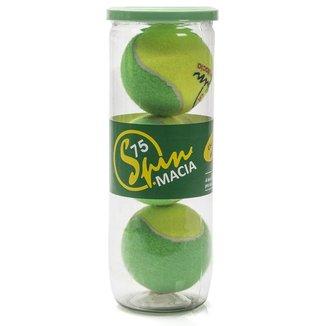 Bola de Tênis Spin Macia 75 Estágio 1 Tubo com 03 unidades Amarela e Verde
