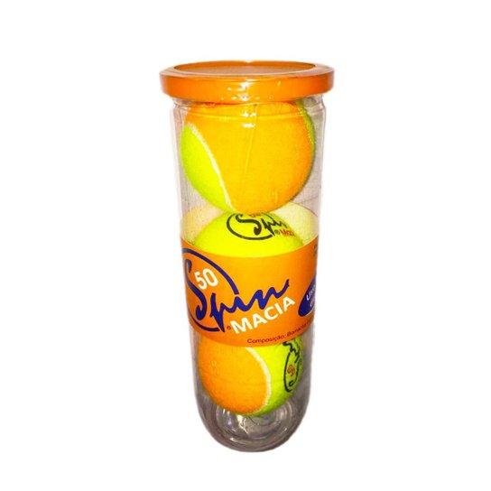 Bola de Tênis Spin Soft 50 Tubo com 3 Bolas SPIN - Amarelo+Laranja