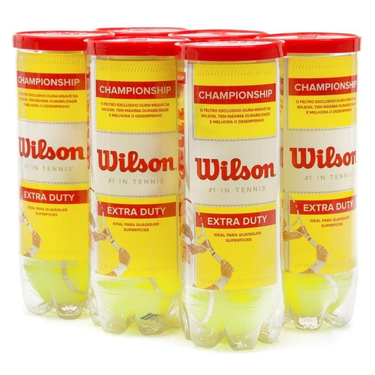 0ab7d241b Bola de Tênis Wilson Championship Pack com 6 Tubos - Verde Limão ...