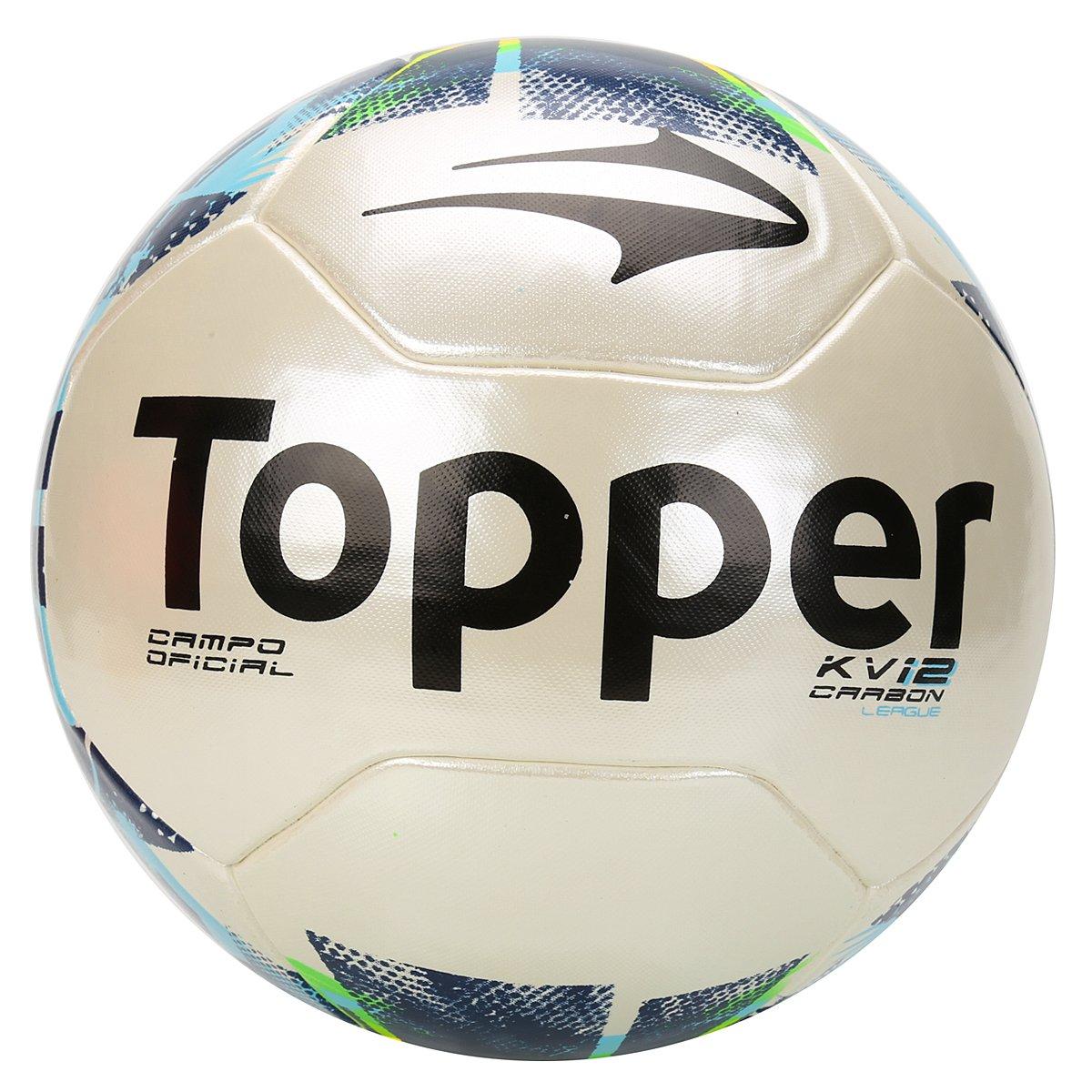 44b8fd4bdf626 Bola Futebol Campo Topper KV Carbon League 2 - Branco e Marinho - Compre  Agora