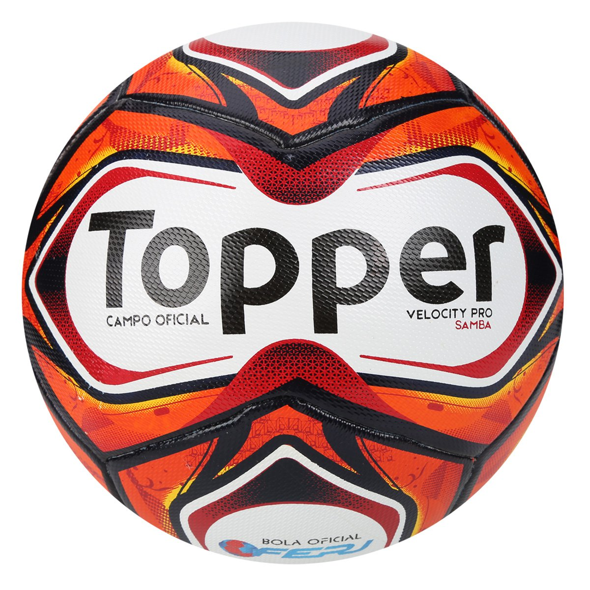 7d2361ff57592 Bola Futebol Campo Topper Samba Pro - Branco e Vermelho - Compre Agora