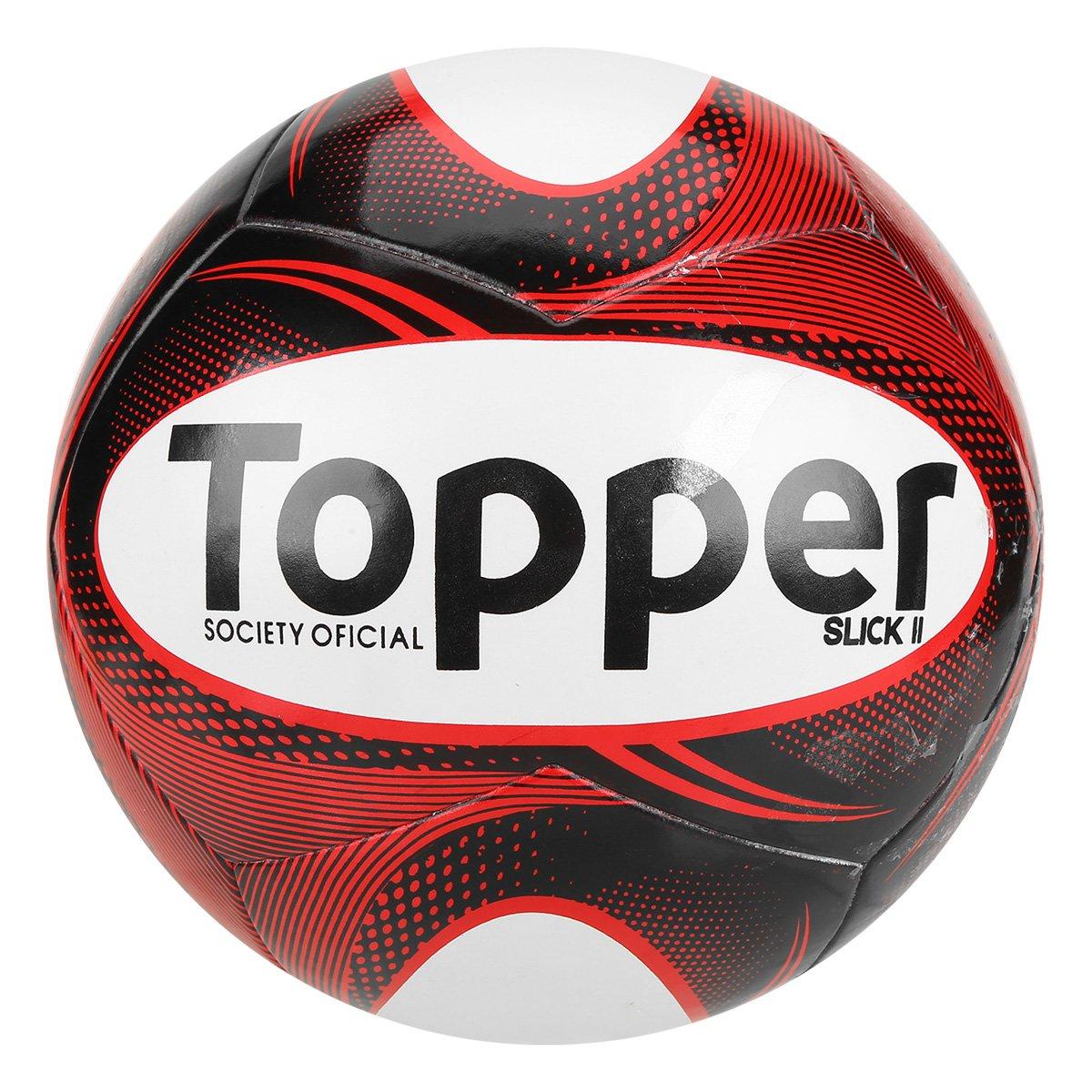 feff8de3b1b8b Bola Futebol Society Topper Slick II - Preto e Branco - Compre Agora ...