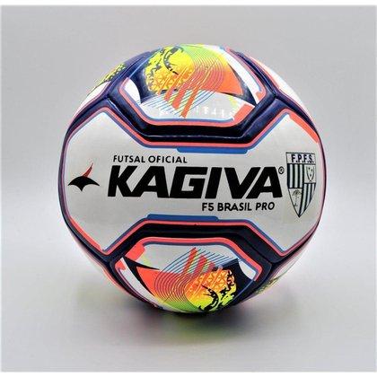 BOLA KAGIVA FUTSAL PRO F5 BRASIL - UN - BRANCA/AMARELA/AZUL