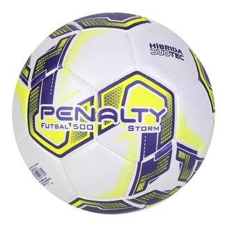 Bola Penalty Futsal Storm Dt X - Branco e Roxo