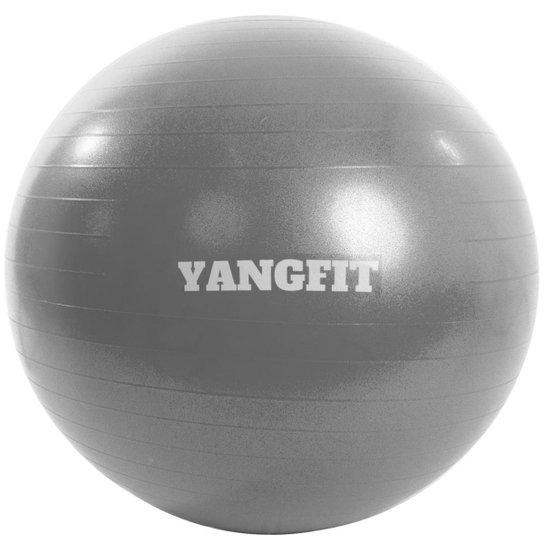 Bola Pilates Suíça Exercícios Yoga 65cm Com Bomba Yangfit - Cinza