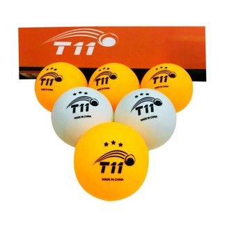Bola Tênis de mesa T11 3 estrelas com 6 unidades