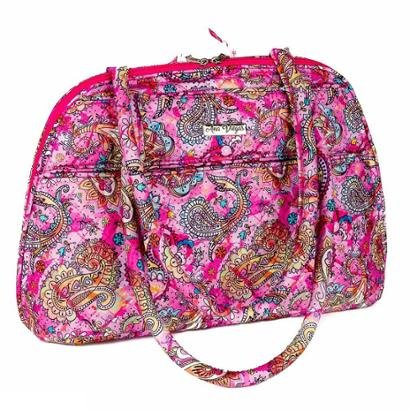 Bolsa Handbag Ana Viegas Tecido Ombro Zíper Espaçosa Feminina - Feminino