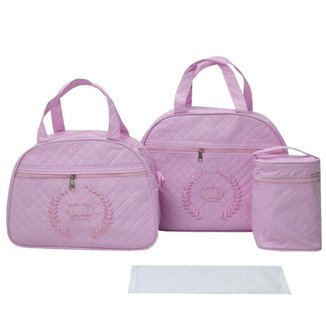 Bolsa Maternidade Bebê Menina Princesa Kit com 3 World Baby Rosa