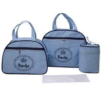 Bolsa Maternidade Bebê Menino Kit com 3 World Baby Azul