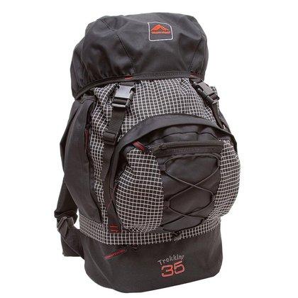 Bolsa Mochila Camping Trekking 35 Litros Trilhas e Rumos Quadriculado com Preto