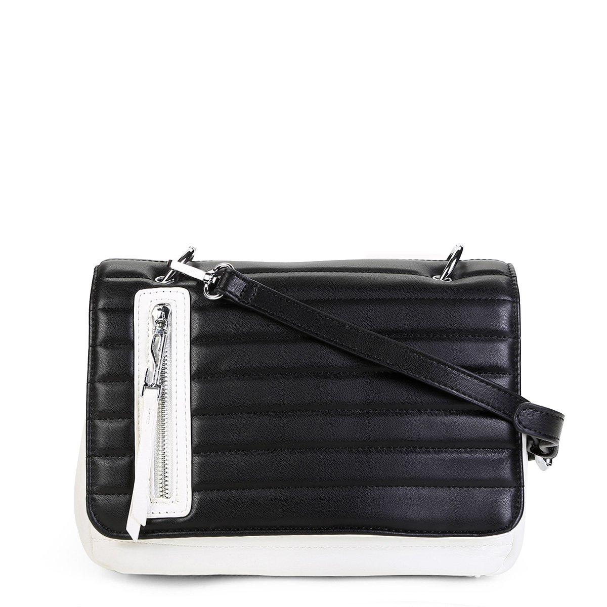 Bolsa Santa Lolla Flap Matelassê Feminina - Preto e Branco - Compre ... a61680ac902
