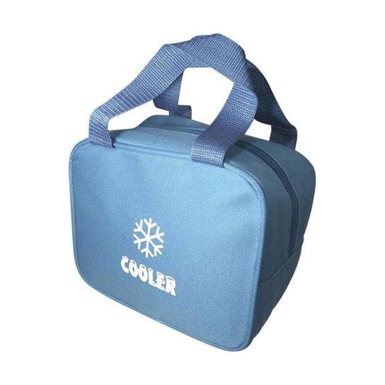 Bolsa Térmica Alça Vertical de Mão Cooler Fitness Lancheira Marmita Necessaire Medicamentos Cosmétic - Azul