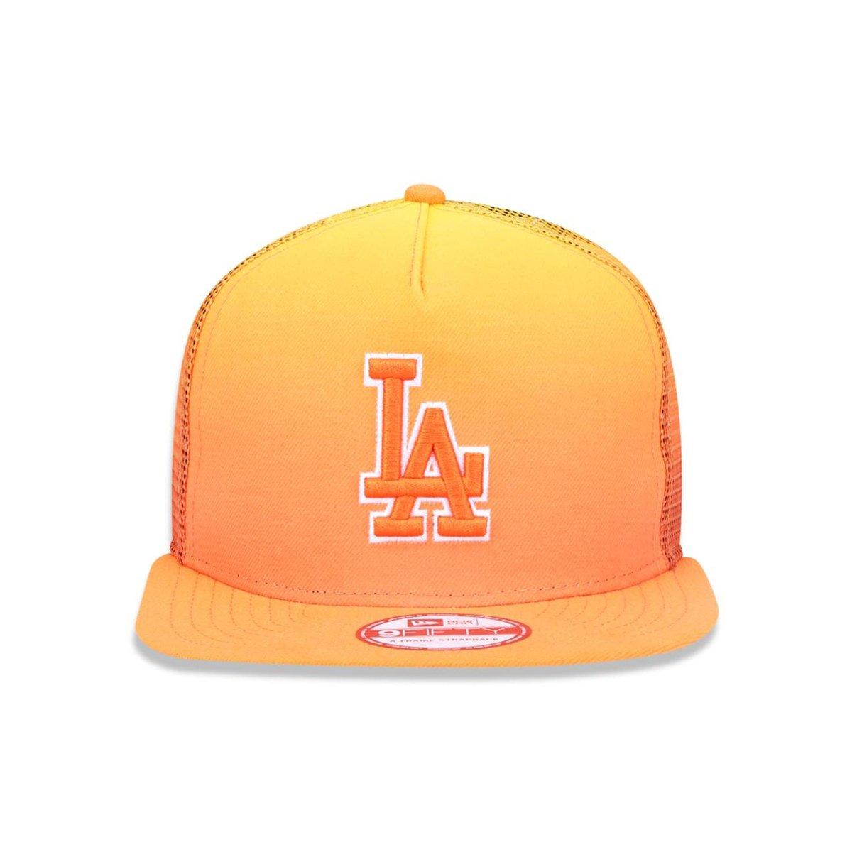 Boné 950 A-frame Los Angeles Dodgers MLB Aba Reta New Era - Amarelo e  Laranja 202a9894d33