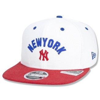 BONE 9FIFTY ORIGINAL FIT SNAPBACK ABA RETA NEW YORK YANKEES HAVE FUN EMPIRE STATE BRANCO NEW ERA