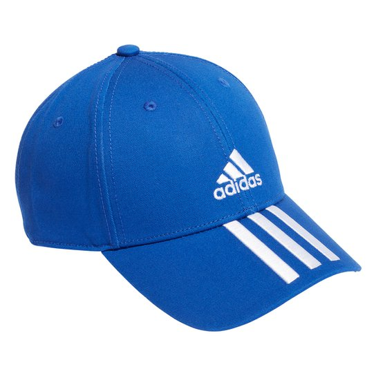 Boné Adidas Aba Curva Strapback Baseball 3 Listras - Azul+Branco