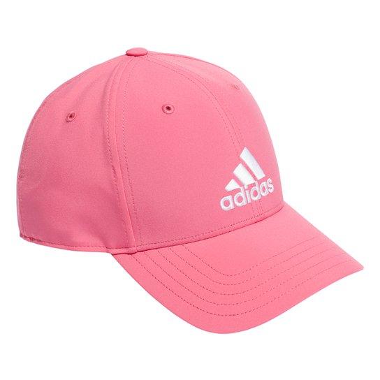 Boné Adidas Aba Curva Strapback Logo Baseball - Pink+Branco