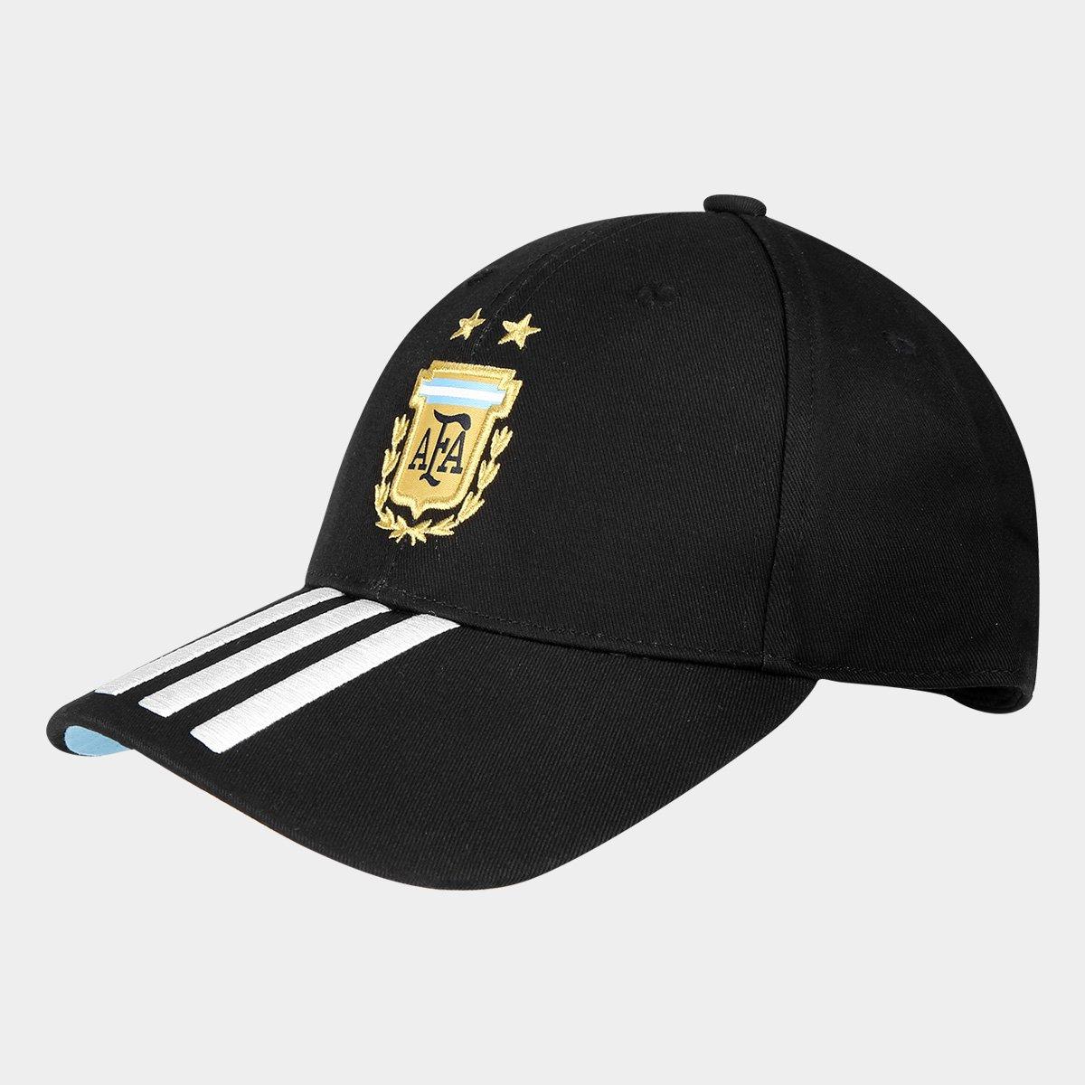 e41f95f9254d0 Boné Adidas Argentina 3 Stripes Aba Curva - Preto e Branco - Compre Agora