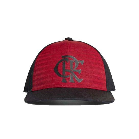Boné Adidas Flamengo CW Aba Reta - Preto+Vermelho
