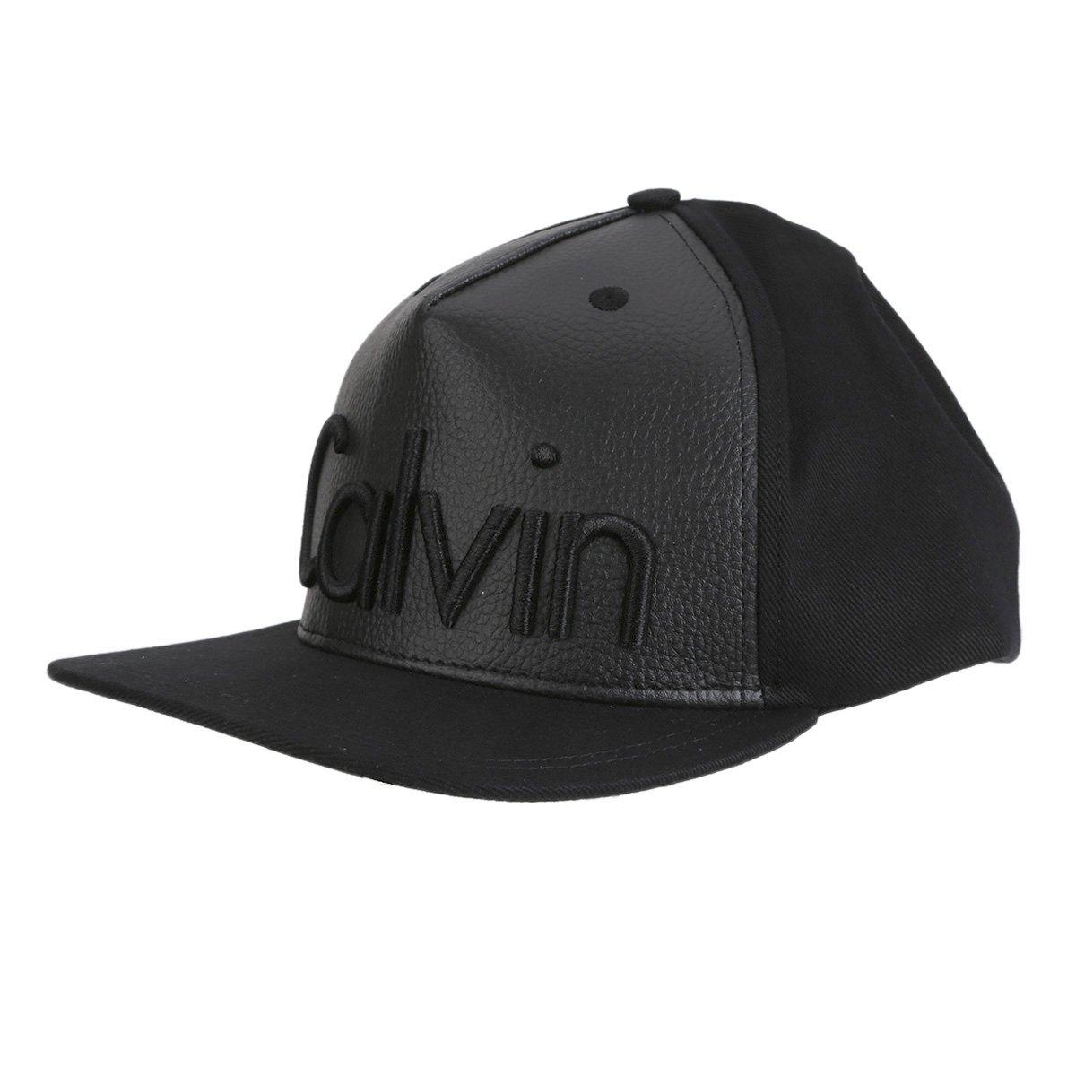 Boné Couro Calvin Klein Aba Reta Logo Masculino - Compre Agora ... 614f94217f