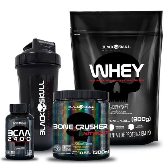 Bone Crusher Nitro 2T 300g Frutas Amarelas + Whey Refil 900g + Bcaa 100 tab + Shaker 600ml -