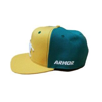 Boné de Aba Reta com ajuste de tamanho Amarelo e Verde bordado Branco