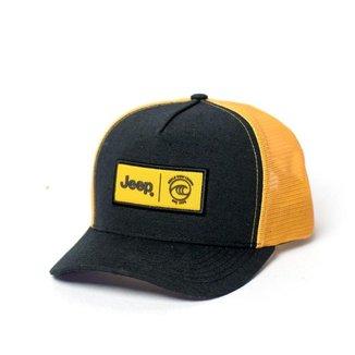 Boné JEEP e WSL Trucker - Patch - Preto / Amarelo Claro