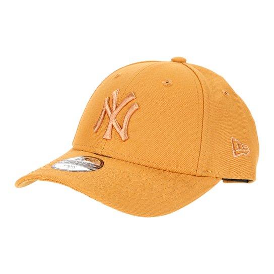 Boné Juvenil New Era Aba Curva Strapback MLB 9Forty New York Yankees Masculino - Kaki