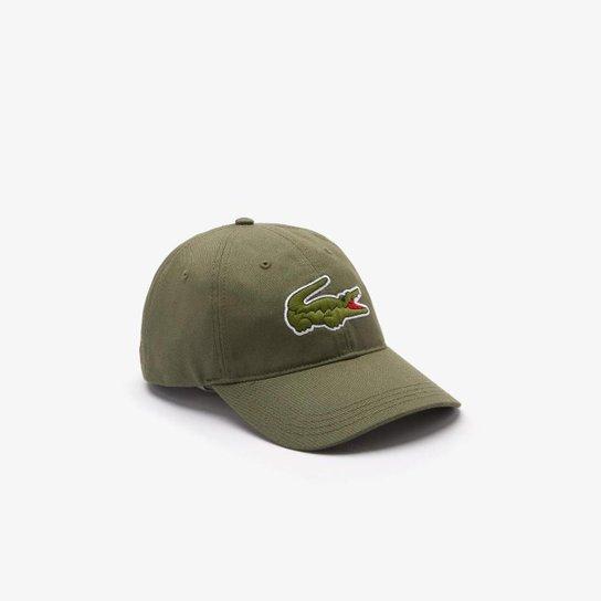 Boné masculino em algodão com tira contrastante e crocodilo grande - Verde Militar