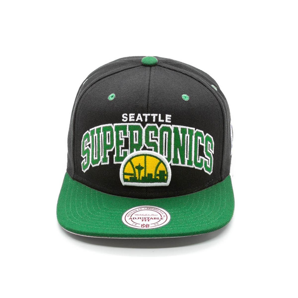 Boné Mitchell   Ness Team Arch NBA Seattle Supersonic Aba Reta ... ac0579aee65