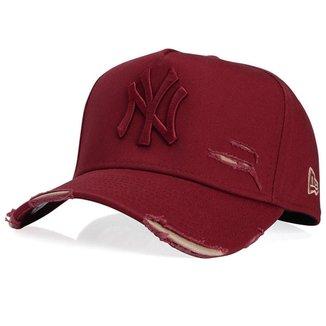 Boné New Era 9FORTY A-Frame Aba Curva Ajustável Destroyed MLB New York Yankees