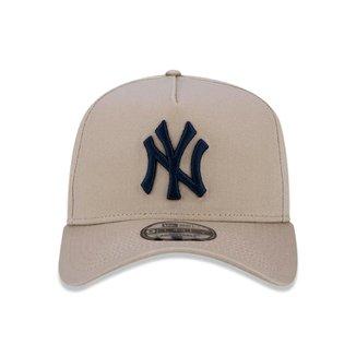 Boné New Era 9Forty New York Yankees A-Frame Bege Snapback Aba Curva