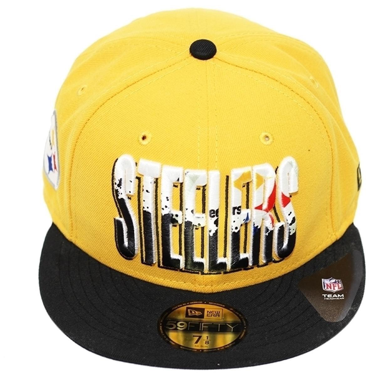 Boné New Era Aba Reta Fechado Nfl Steelers Splatter Fill - Amarelo ... 29605bf32d5e0