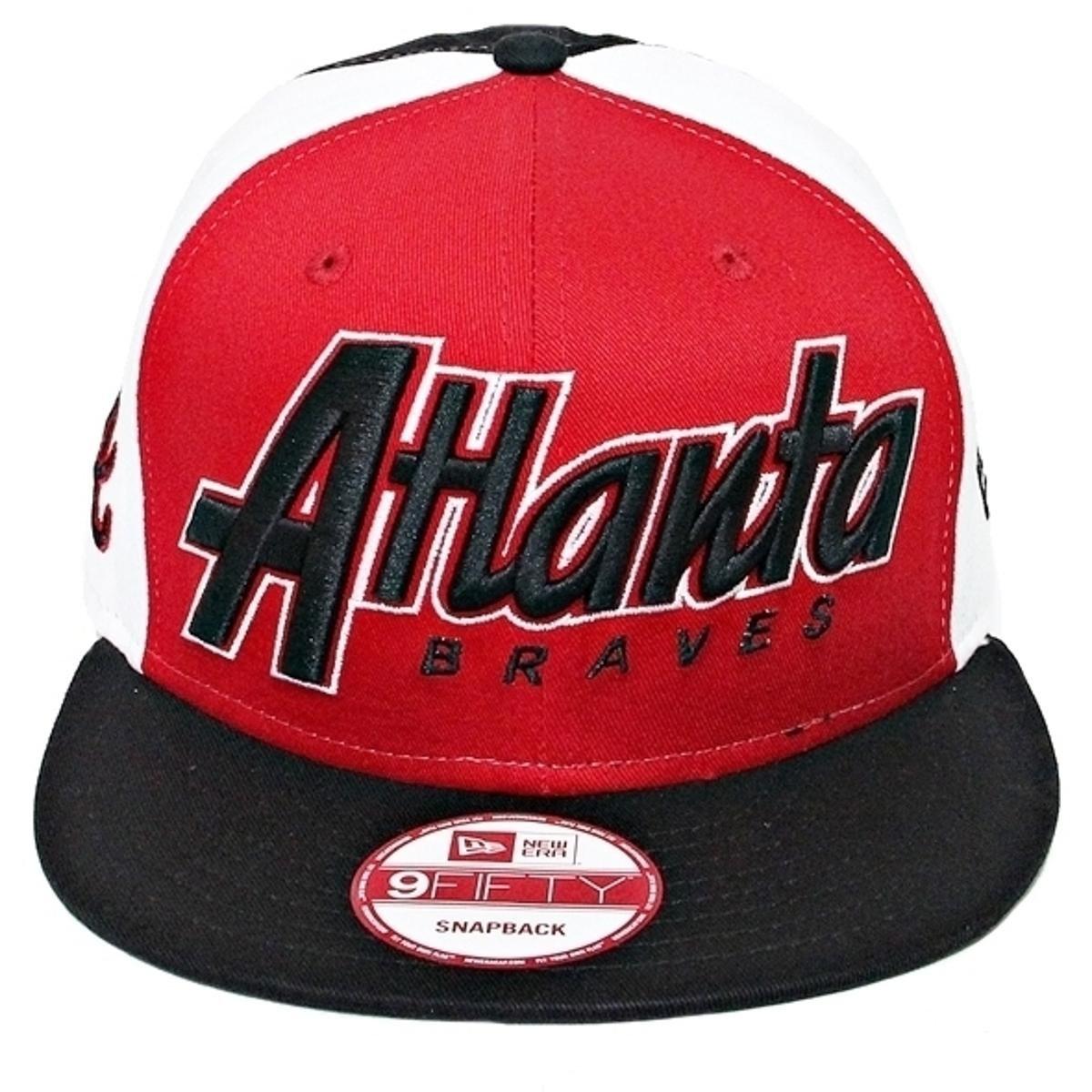 Boné New Era Aba Reta Snapback Mlb Atlanta Snapitback - Vermelho ... f4612ce6554