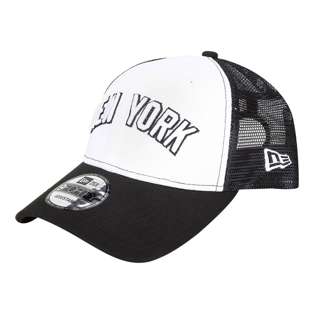 Boné New Era MLB New York Yankees Aba Curva 940 Sn Trucker - Branco e Preto  - Compre Agora  7ecf56bb4a4