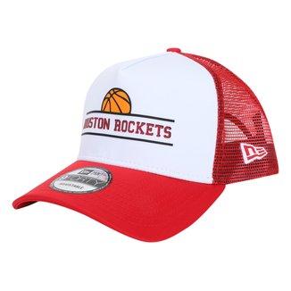 Boné New Era NBA Houston Rockets Aba Curva Snapback Trucker 940 AF TR SN Core Basketball