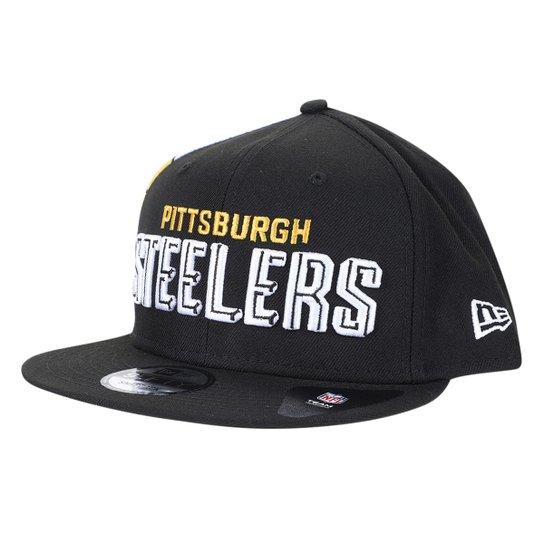 Boné New Era Pittsburgh Steelers Aba Reta Snapback Nfl20 Draft Font 950 Blk - Preto