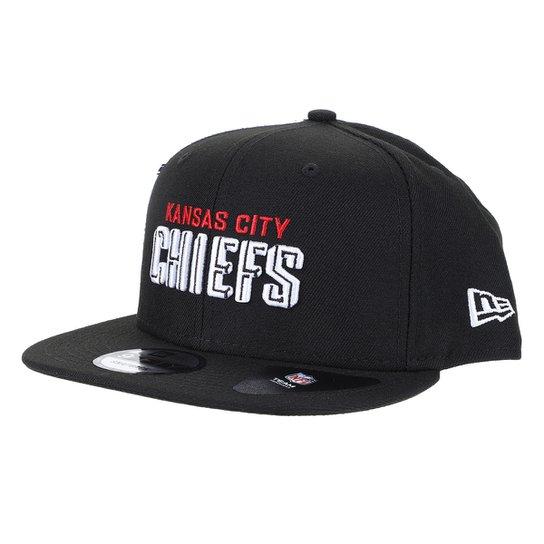 Boné NFL Kansas City Chiefs New Era Aba Reta Snapback Draft 950 Blk - Preto
