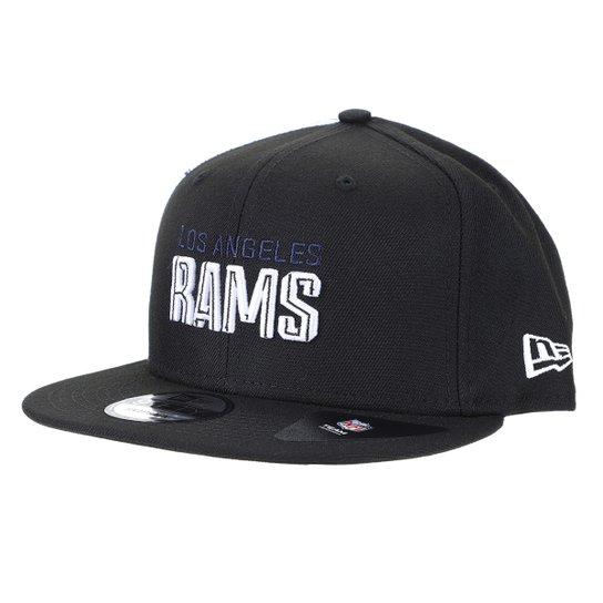 Boné NFL Los Angeles Rams New Era Aba Reta Snapback Draft Font 950 Blk - Preto