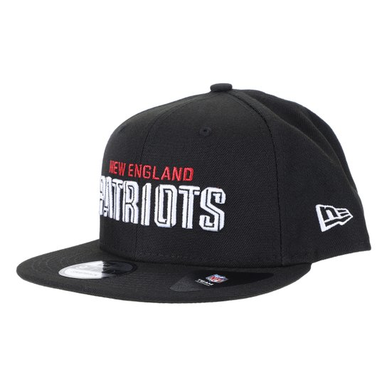 Boné NFL New England Patriots New Era  Aba Reta Snapback Draft 950 Blk - Preto