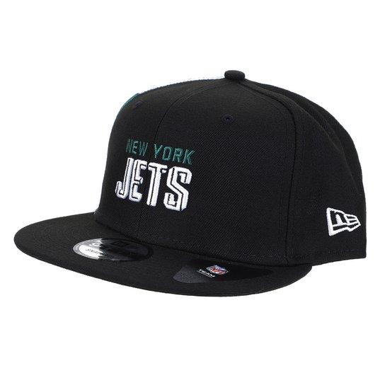 Boné NFL New York Jets New Era Aba Reta Snapback Draft Font 950 Blk - Preto