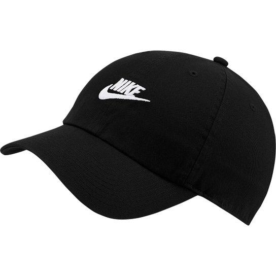 Boné Nike Sportswear H86 Futura Washed Aba Curva - Preto+Branco