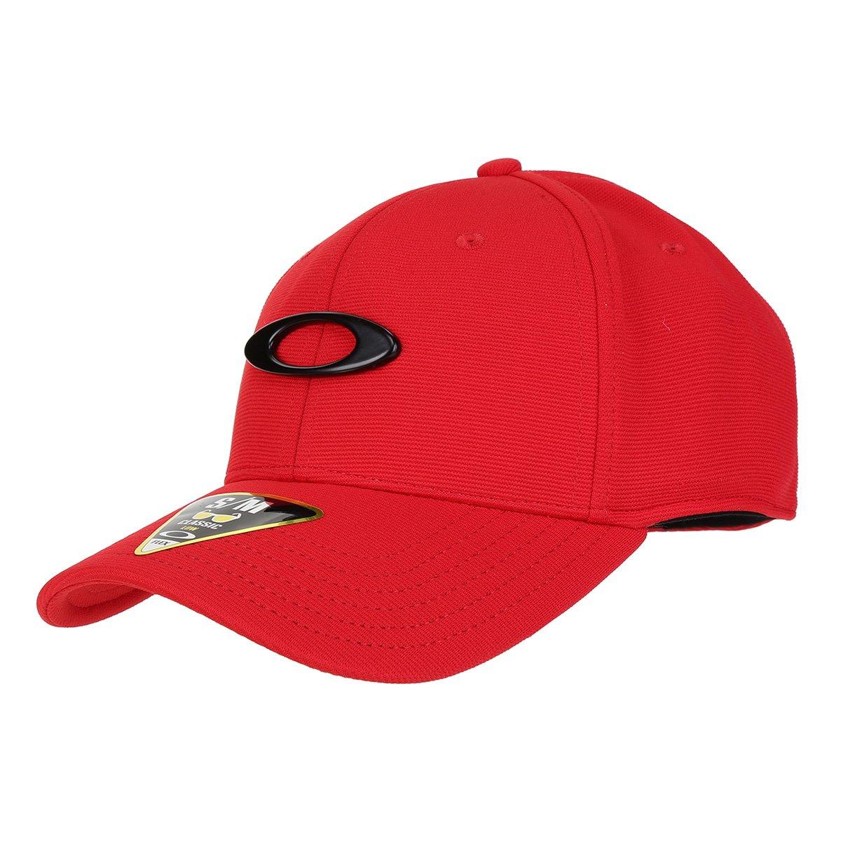 Boné Oakley Aba Curva Tincan Masculino - Vermelho e Preto - Compre Agora  8ca3cc49718