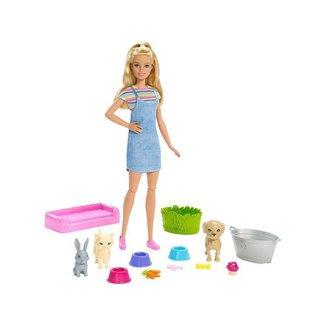 Boneca Barbie Banho de Cachorrinhos com Acessórios Mattel