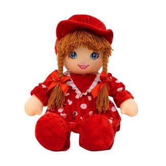 Boneca Vermelho Círculos Com Chapéu 60cm