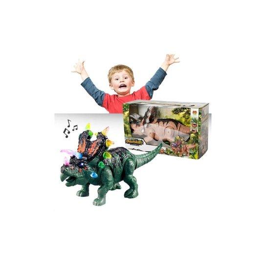 Boneco Dinossauro Triceratops Com Luz Som Movimentos - Dm Toys - Verde