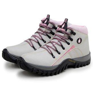Bota Adventure em Couro Cinza e Pink Feminino