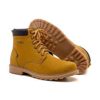 Bota Ben Boot Yellow Couro Estilo Conforto Tratorada Casual Coturno Masculino Fork - Amarelo