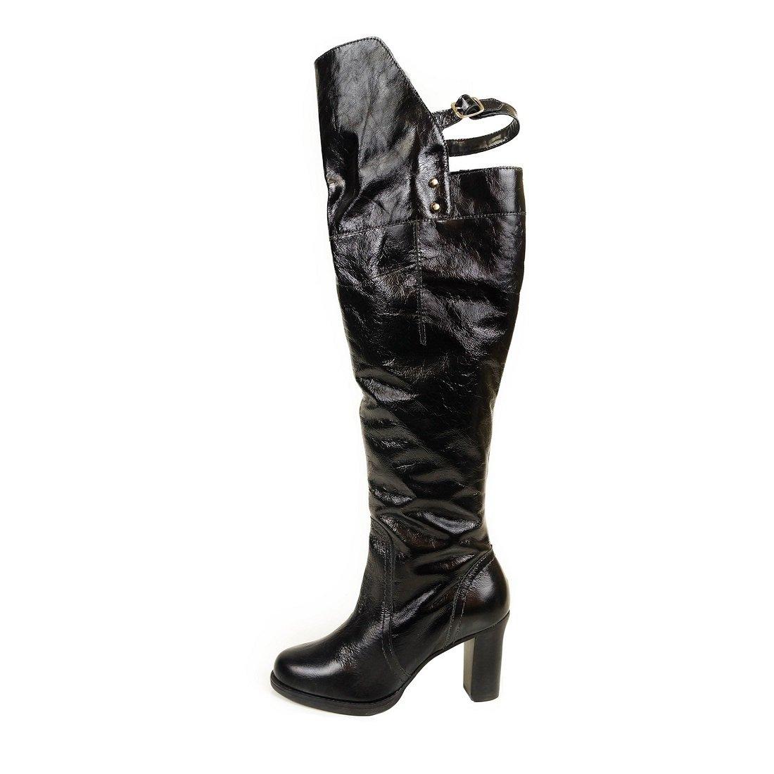 Bota Cano Alto Over Knee Verniz Preta - Compre Agora  edf3ff47aa406